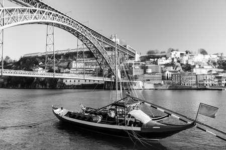 view of Dom Luis I bridge at Porto, Portugal photo