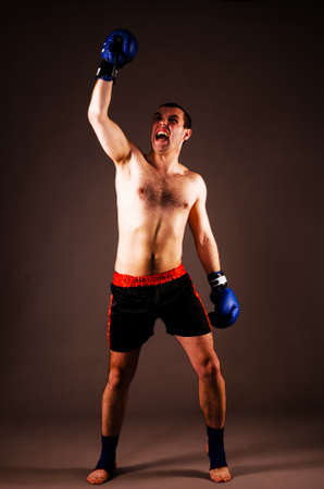 mma fighter with hands up on gray background photo