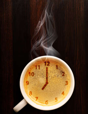 clock  cup of fresh espresso with clock sign, view from above Stok Fotoğraf