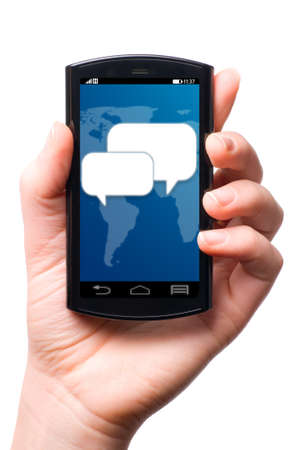 touch screen phone: message icon on touch screen phone , cut out from white