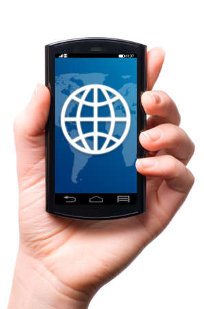 holding cell: web symbol touch screen phone , cut out from white  Stock Photo
