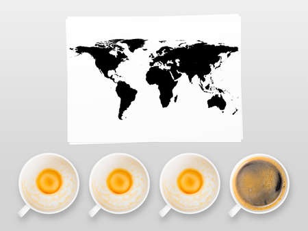 world coffee, full and empty cups of fresh espresso, view from above photo