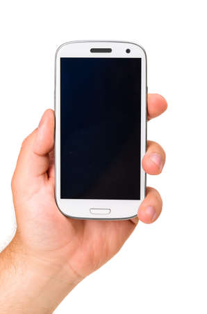 male hand is holding a modern touch screen phone  Screen is cut with clipping path 版權商用圖片
