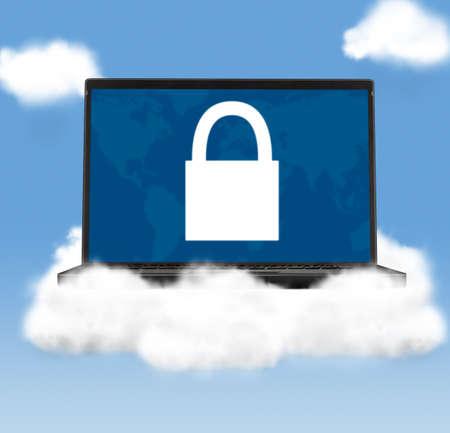 pad lock: cloud technologies, modern laptop in skies