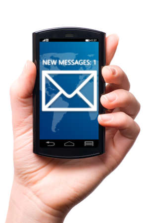 message icon on touch screen phone , cut out from white  photo