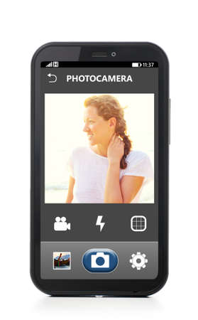 mobile camera interface on touch screen phone, cut out from white  photo