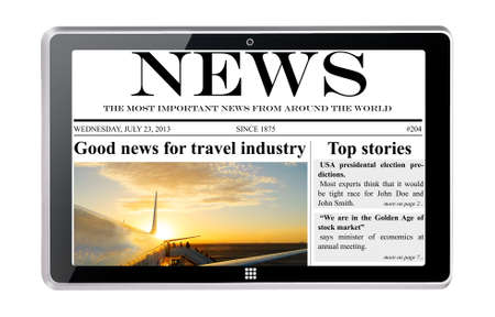 hot news: tablet computer with news on touch screen, isolated on white