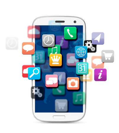 applications cloud for touch screen phone, cut out from white  photo
