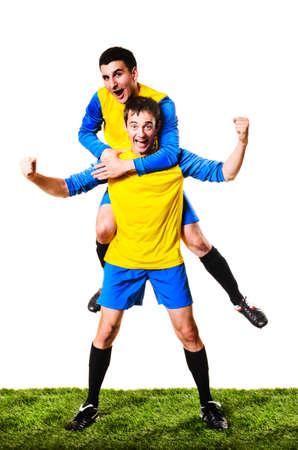 Happy voetbal of voetballers zijn vieren, geïsoleerd op witte achtergrond Stockfoto - 22096528