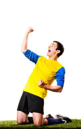 행복 축구 또는 축구 선수 흰색 배경에 고립 스톡 콘텐츠