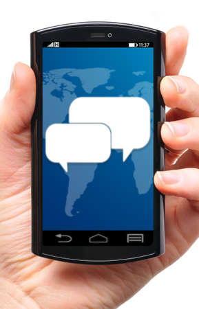 message icon on touch screen phone , cut out from white Stock Photo - 22096604