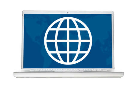 world on modern laptop isolated on white background photo