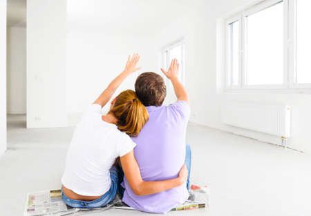 couple at their new empty apartment Stockfoto