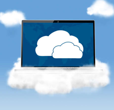 cloud technologies, modern laptop in skies photo