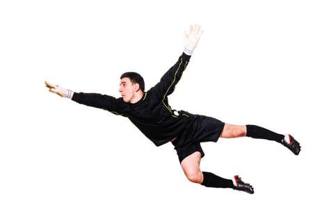 골키퍼: 축구 골키퍼, 흰색 배경에 격리 된 공을 잡기