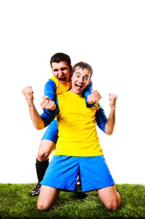 Happy voetbal of voetballers zijn vieren, geïsoleerd op witte achtergrond Stockfoto - 22278945