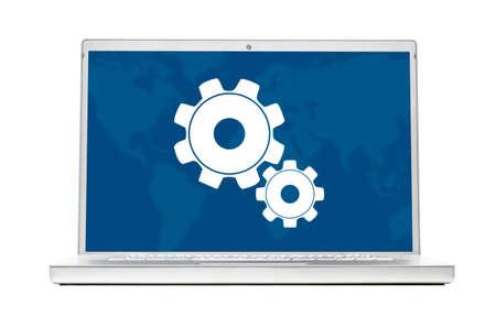 setting modern laptop isolated on white background Stock Photo