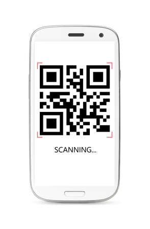 scanning QR code modern touch screen smartphone isolated on white background photo