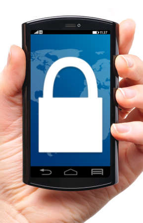 locked: locked touch screen phone, cut out from white  Stock Photo