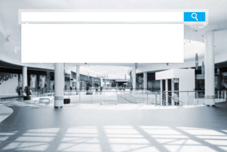 buying questions: search box on blurred photo of a modern mall