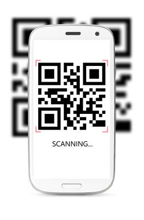 bars code: scanning QR code modern touch screen smartphone isolated on white background