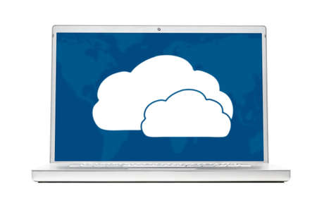 clouds on modern laptop isolated on white background photo