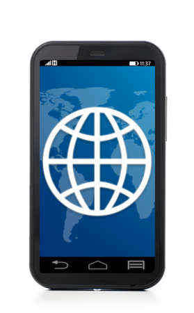 surfing the internet: web symbol touch screen phone , cut out from white  Stock Photo