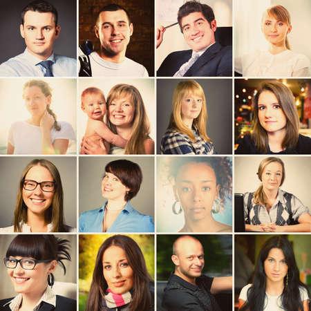 collage caras: conjunto de diferentes personas Retratos, colores c�lidos en tonos Foto de archivo