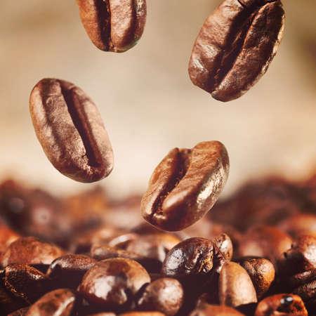colores calidos: caf� tostado en grano se est� cayendo, los colores c�lidos en tonos