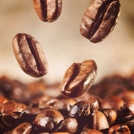 roasted coffee beans is falling down, warm colors toned photo