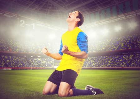 colores calidos: f�tbol o jugador de f�tbol est� celebrando el gol en el estadio, los colores c�lidos en tonos