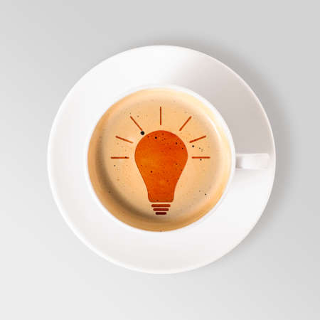 field glass: idea  cup of fresh espresso with bulb sign, view from above