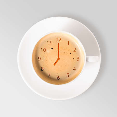 clock  cup of fresh espresso with clock sign, view from above Imagens