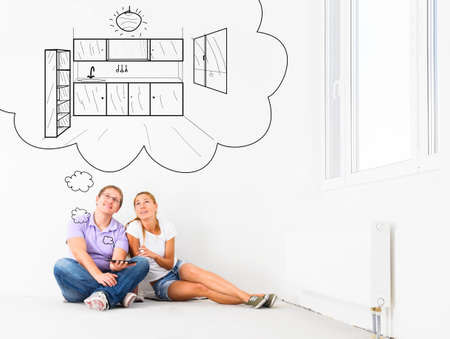 empty house: couple at their new empty apartment Stock Photo