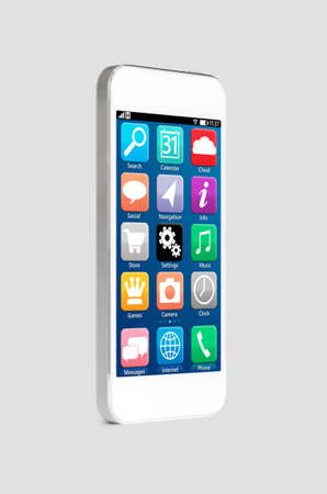modern touch screen smartphone with mobile interface, on gray background photo