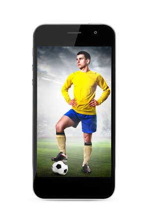 modern phone with soccer or football player on screen photo