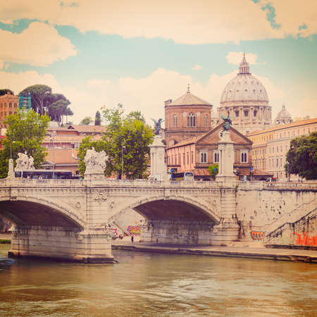 tevere: view of Ponte Principe Amedeo and St. Peters basilica, Rome, Italy