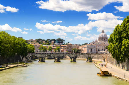 pietro: view of Ponte SantAngelo and St. Peter\s basilica, Rome, Italy