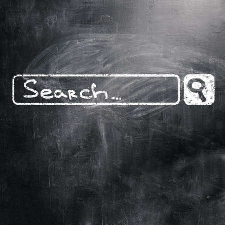 search bar: chalk board with search engine