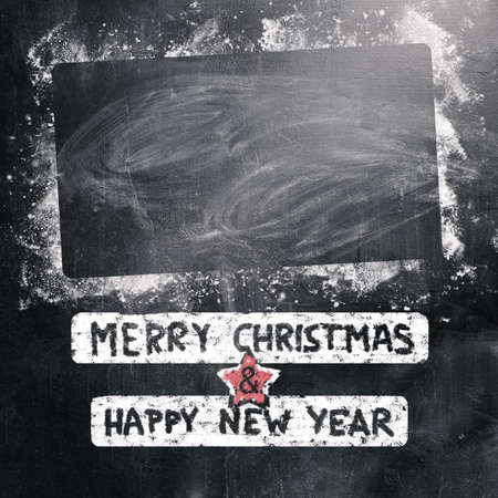 new year 2015 written on chalk board for christmas photo