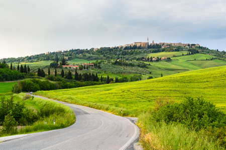 agriturismo: view of Pienza and Tuscany landscape, Toscana, Italy