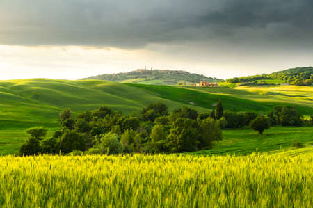 siena: sunset view of Pienza, province of Siena, Val dOrcia in Tuscany, Italy