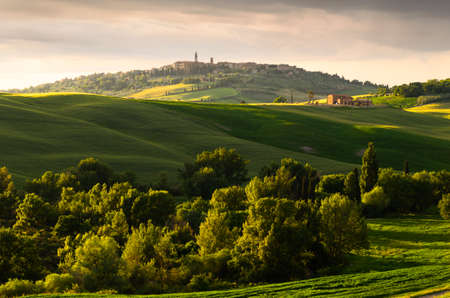 agriturismo: sunset view of Pienza, province of Siena, Val dOrcia in Tuscany, Italy