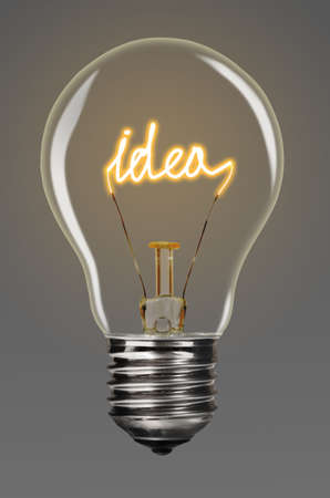 filaments: bulb with glowing word idea inside of it, creativity concept