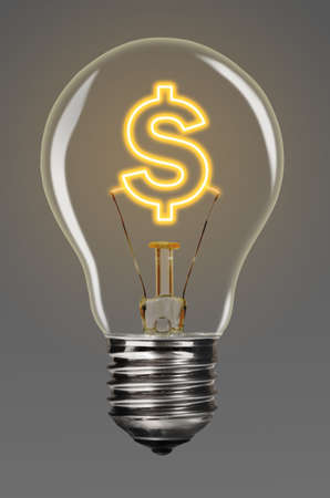 filaments: bulb with glowing dollar sign inside of it, financial creativity concept