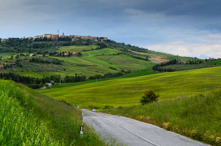 agriturismo: view of Pienza, province of Siena, Val dOrcia in Tuscany, Italy
