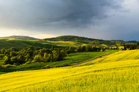 pienza: sunset view of Pienza, province of Siena, Val dOrcia in Tuscany, Italy