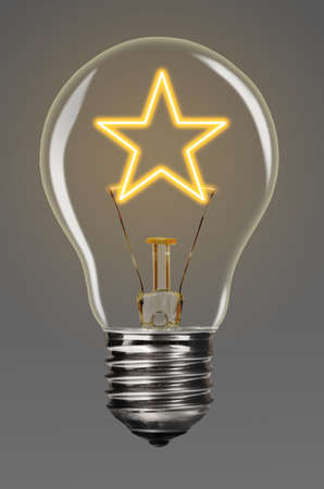 award lit: bulb with glowing star inside of it, creativity concept