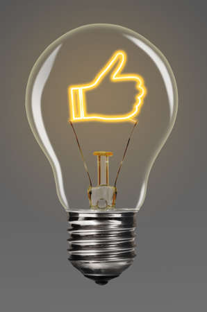 approve icon: bulb with glowing like sign inside of it, creativity concept