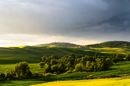 val d'orcia: sunset view of Pienza, province of Siena, Val dOrcia in Tuscany, Italy